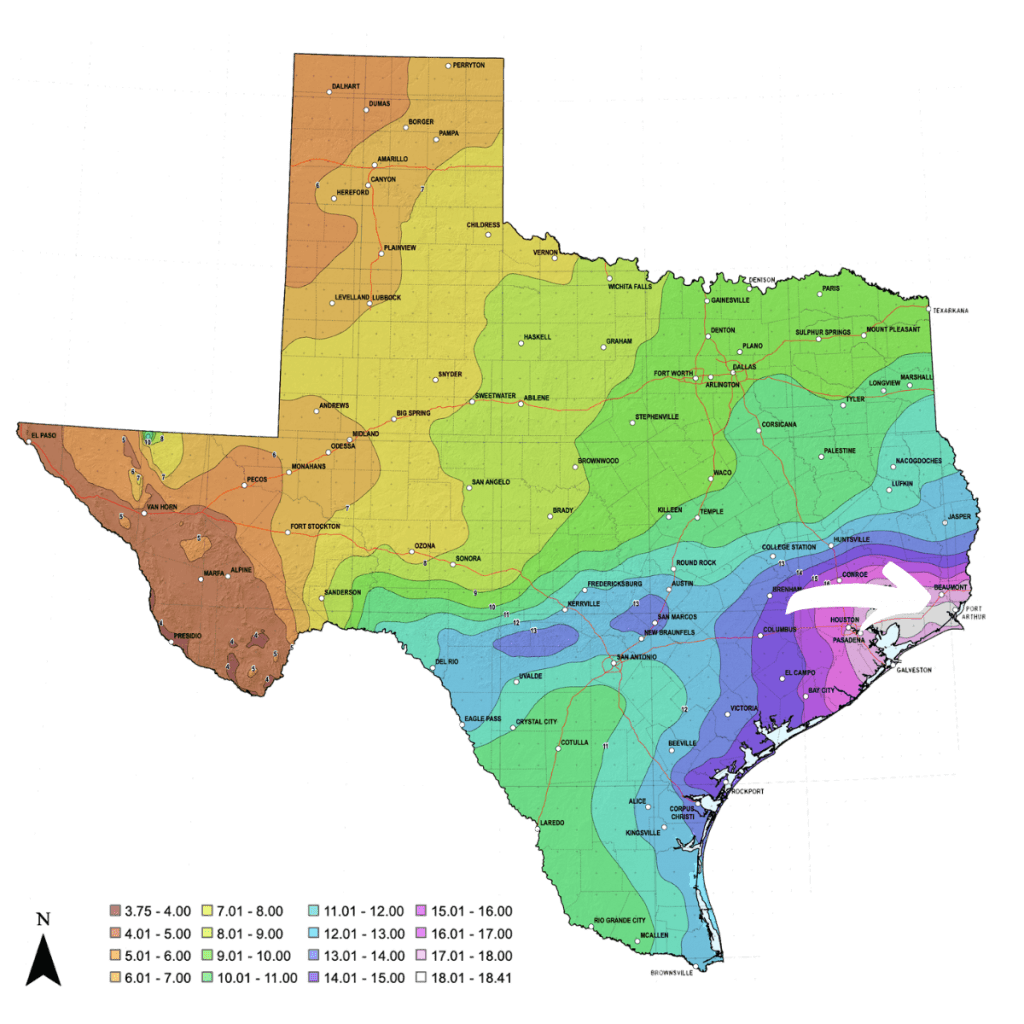 NOAA Atlas 14 Map with Focus on Beaumont, TX