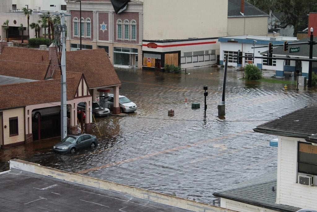 streets and buildings flooded from a hurricane